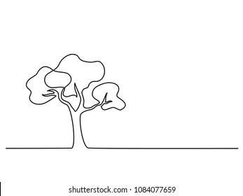 Continuous line drawing. Tree logo. Vector illustration. Concept for logo, card, banner poster flyer