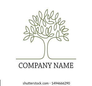 Continuous line drawing of tree logo design on white background. Company name. Vector illustration