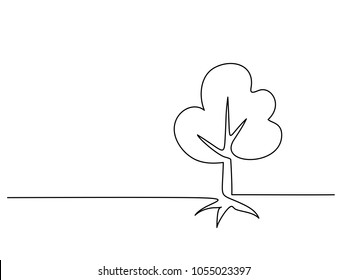 Continuous line drawing. Tree with roots on white background. Vector illustration