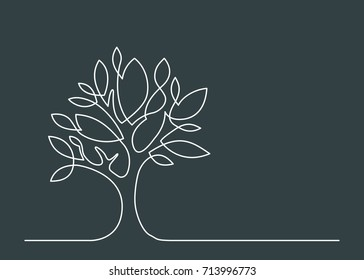 Continuous line drawing of tree. Vector illustration