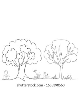 continuous line drawing of trees
