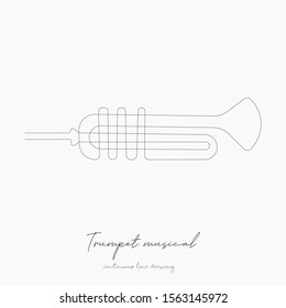 continuous line drawing. trumpet musical. simple vector illustration. trumpet musical concept hand drawing sketch line.
