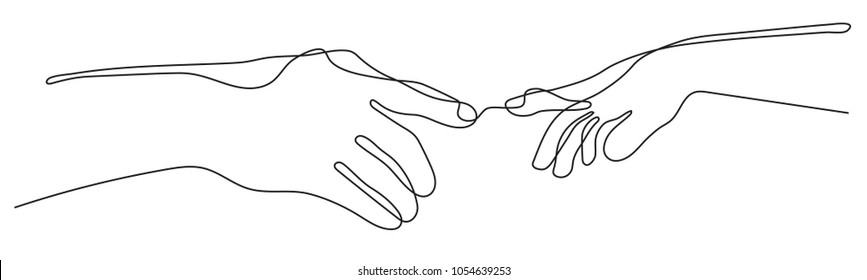 continuous line drawing of two arms stretching towards each other, Teamwork hands logo on white background