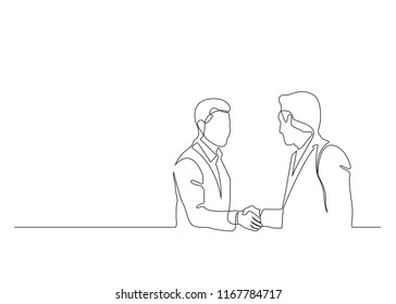 Continuous Line Drawing. Two Business Men Shaking Hands. Drawing by hand on a white background vector illustration. - Vector