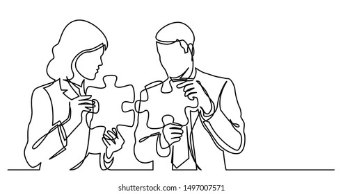 continuous line drawing of two business persons connecting puzzle pieces together
