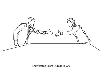 continuous line drawing of two businessmen shaking hands at business meeting