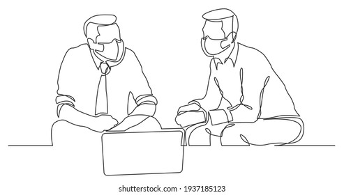 continuous line drawing of two businessmen sitting and talking wearing face masks