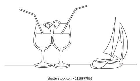 continuous line drawing of two cocktail drinks and sailing boat