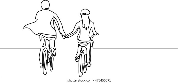 continuous line drawing of two cyclists