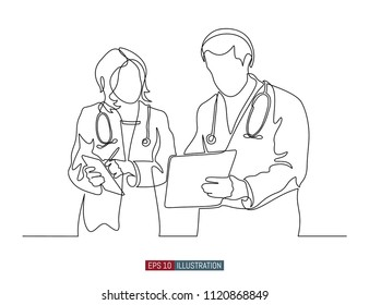 Continuous line drawing of two doctors dialog. Hospital scene. Template for your design works. Vector illustration.