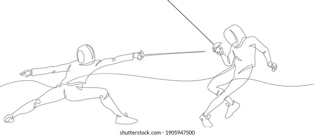 Continuous line drawing of two fencer. Fensing sport vector illustration