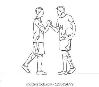 Continuous line drawing of two football player bring a ball and handshaking to show sportsmanship. Respect in soccer sport concept - one line drawing vector