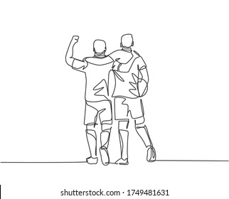 Continuous line drawing of two football player bring a ball and walking together to show sportsmanship. Respect in soccer sport concept. One line drawing vector illustration
