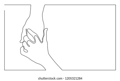continuous line drawing of two hands touching each other