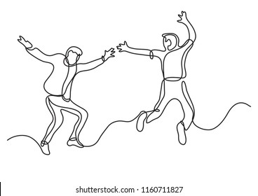 continuous line drawing of two happy teenagers jumping and having fun
