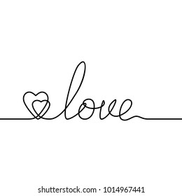 Continuous line drawing of two hearts and word LOVE, Black and white vector minimalist illustration of love concept