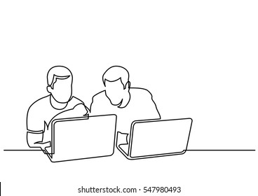 continuous line drawing of two men sitting and talking with laptop computers