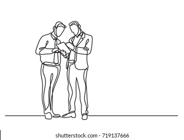 continuous line drawing of two men standing talking about document