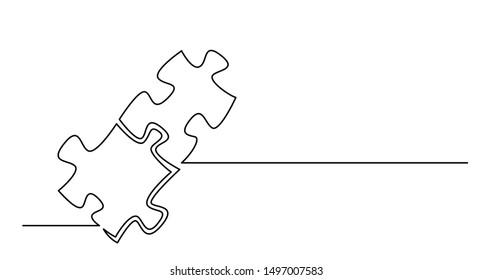continuous line drawing of two puzzle pieces connected together