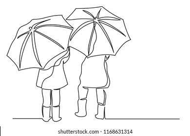 Continuous line drawing two umbrellas from the rain under them are girls in boots. The concept of the arrival of autumn, the beginning of the school year.