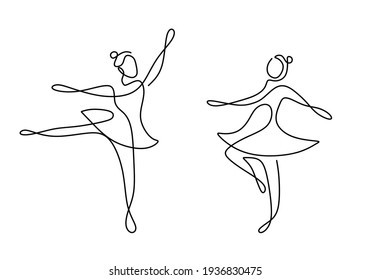 Continuous line drawing of two woman ballet dancer. Two young beautiful professional lady dancer practice ballet together to perform in minimalist design. Dance sport concept. Vector illustration