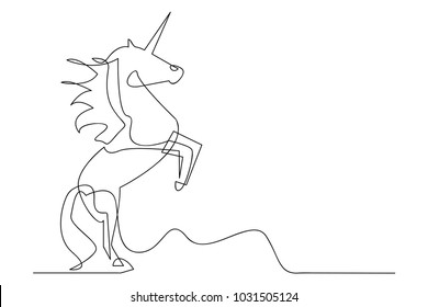 continuous line drawing of unicorn