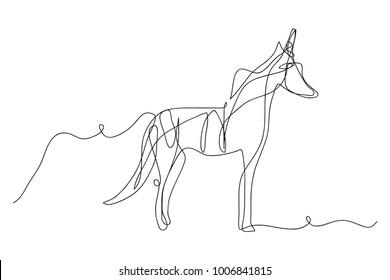 continuous line drawing of unicorn horses vector  For print, baby clothes, t shirt, child or wrapping paper