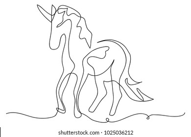 continuous line drawing of unicorn horses