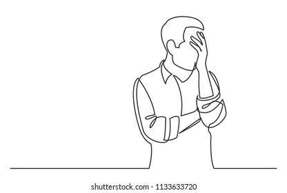 continuous line drawing of upset man in trouble