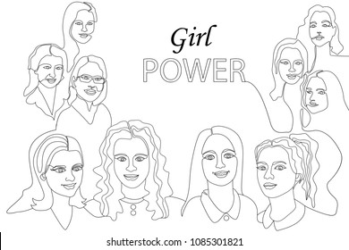 Continuous line drawing. Variety of linear women faces. Design fora cards, covers, posters.