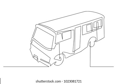 continuous line drawing of Vector bus transportation concept, simplicity For print, baby clothes, t shirt, child or wrapping paper