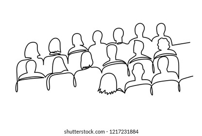 Continuous Line Drawing of Vector illustration character of audience in the conference hall background with blank space for your text and design. Outline, thin line art, hand drawn sketch.
