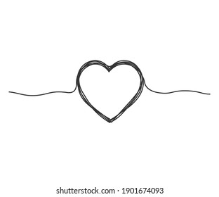 Continuous line drawing vector illustration of a tangled heart.