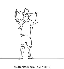 Continuous line drawing vector illustration. Father with son on shoulders silhouette.