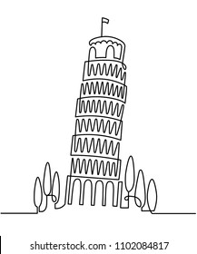 Continuous Line Drawing of Vector Italian landmark Piza Tower, Italy. Vector illustration, simple linear travel concept.