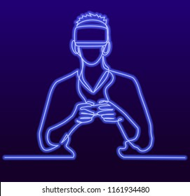 Continuous Line Drawing of Vector Man wearing virtual reality headset. Abstract vr world with neon lines. Vector illustration One line style fluorescent