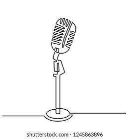 Continuous Line Drawing of Vector retro, vintage microphone icon thin line for web and mobile, modern minimalistic linear design.