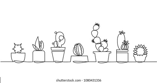 Continuous Line Drawing of Vector Set of Cute Cactus Black and White Sketch House Plants Isolated on White Background. Potted Cactus Family One Line Hand Drawn Illustration