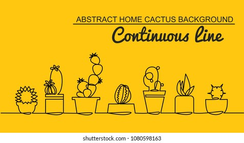 Continuous Line Drawing of Vector Set of Cute Potted Cactus Black Sketch House Plants Isolated on Yellow Background. Cactus Family One Line Hand Drawn Illustration