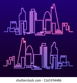 Continuous Line Drawing of Vector skyline the night city of neon glow is burning. One line style fluorescent London cityscape. Simple modern minimalistic style metropolis.