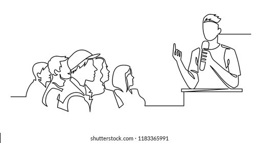 Continuous Line Drawing of Vector A speaker in front of an audience. hand drawn style vector doodle design illustrations.