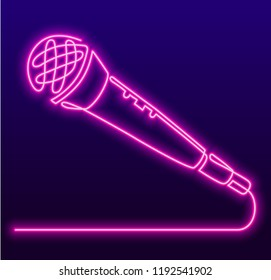Continuous Line Drawing of Vector wired microphone icon. Karaoke neon sign, bright signboard, light banner. Karaoke Bar logo, emblem.