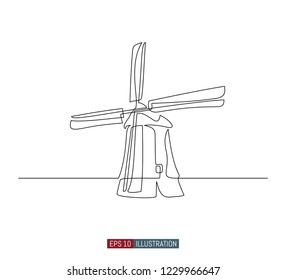 continuous line drawing vintage windmill template stock vector