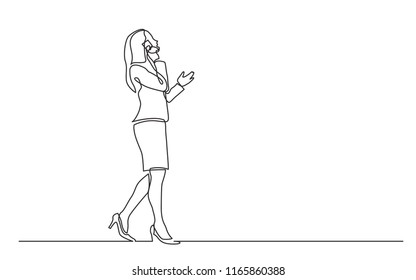 continuous line drawing of walking business woman speaking on mobile phone