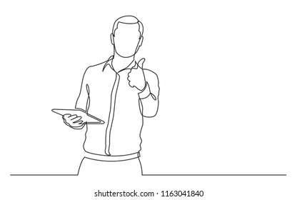 continuous line drawing of walking businessman in suit