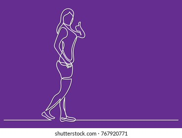 continuous line drawing of walking fitness woman showing thumb up