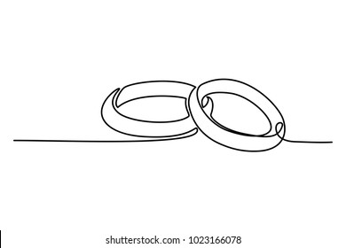Continuous line drawing. Wedding rings. Template for love cards and invitations. Black isolated on white background. Hand drawn vector illustration.