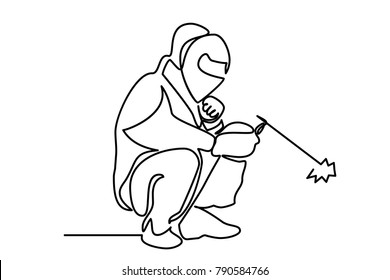 continuous line drawing. Welder working outline graphic vector.