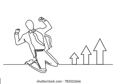 Continuous line drawing. White background. A man in a tie and suit is a businessman. Arrows of sales go up.