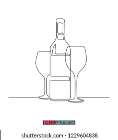 Continuous line drawing of wine bottle and glasses. Template for your design works. Vector illustration.